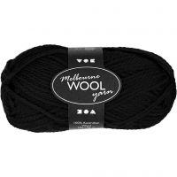 Melbourne Yarn, L: 92 m, black, 50 g/ 1 ball