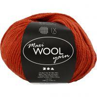 Wool yarn, L: 125 m, rust red, 100 g/ 1 ball