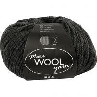 Wool yarn, L: 125 m, dark grey mixture, 100 g/ 1 ball