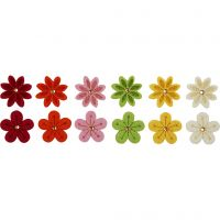 Felt Flowers, D: 30 mm, thickness 2,5 mm, 12 pc/ 1 pack