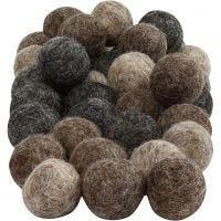 Felt balls, D: 20 mm, natural, 64 pc/ 1 pack