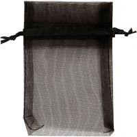 Organza Bags, size 7x10 cm, black, 10 pc/ 1 pack