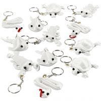 Fabric Figures with key rings, size 4-8 cm, white, 4x3 pc/ 1 pack