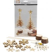 Faux Leather Christmas Trees, thickness 0,55 mm, gold, 1 set