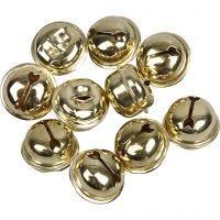 Bells, D: 13+15+17 mm, gold, 12 asstd./ 1 pack