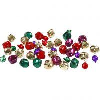 Bells, D: 10+14 mm, metallic colours, 24 asstd./ 1 pack