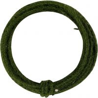 Jute wire, thickness 2-4 mm, green, 3 m/ 1 pack
