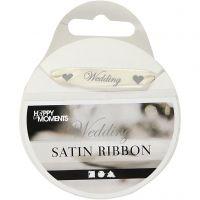 Satin Ribbon, W: 10 mm, off-white, 8 m/ 1 roll