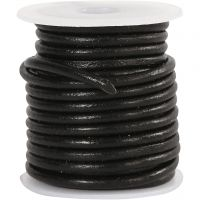 Leather Cord, thickness 3 mm, black, 5 m/ 1 roll
