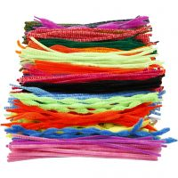 Pipe Cleaners, L: 30 cm, thickness 5-12 mm, assorted colours, 500 asstd./ 1 pack