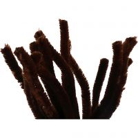 Pipe Cleaners, L: 30 cm, thickness 15 mm, brown, 15 pc/ 1 pack