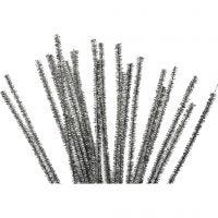 Pipe Cleaners, L: 30 cm, thickness 6 mm, glitter, silver, 24 pc/ 1 pack