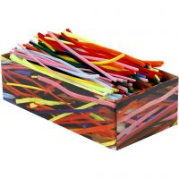 Pipe Cleaners, L: 30 cm, thickness 4+6+9 mm, assorted colours, 700 asstd./ 1 pack