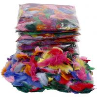 Feathers, size 7-8 cm, assorted colours, 10x50 g/ 1 pack