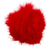 Feathers, size 5-12 cm, red, 15 pc/ 1 pack
