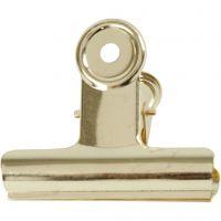 Metal Bulldog Clip, W: 7,5 cm, brass, 6 pc/ 1 pack