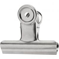 Metal Bulldog Clip, W: 7,5 cm, silver, 6 pc/ 1 pack