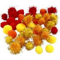 Pompoms, D: 15+20 mm, orange, red, yellow, 48 asstd./ 1 pack