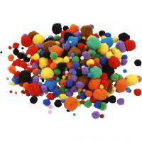 Pompoms, D: 5-40 mm, assorted colours, 42 g/ 1 pack