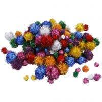 Pompoms, D: 15-40 mm, glitter, bold colours, 62 g/ 1 pack