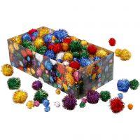 Pompoms, D: 15-40 mm, glitter, bold colours, 400 g/ 1 pack