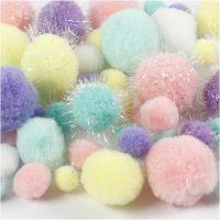 Pompoms, D: 15-40 mm, glitter, pastel colours, 62 g/ 1 pack