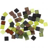Mini Mosaic, size 5x5 mm, thickness 2 mm, green glitter, 25 g/ 1 pack