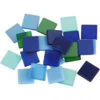 Mini Mosaic, size 10x10 mm, thickness 2 mm, blue/green harmony, 25 g/ 1 pack