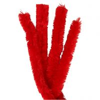 Pipe Cleaners, L: 40 cm, thickness 30 mm, red, 4 pc/ 1 pack