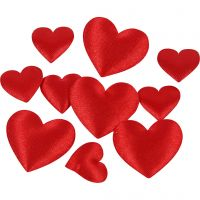 Satin Hearts, size 10+20 mm, thickness 1-2 mm, red, 70 pc/ 1 pack