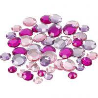 Rhinestones, round, size 6+9+12 mm, purple, 360 pc/ 1 pack
