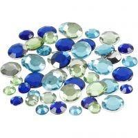 Rhinestones, round, size 6+9+12 mm, blue/green harmony, 360 pc/ 1 pack