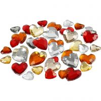 Rhinestones, size 6+10+14 mm, red harmony, 252 pc/ 1 pack