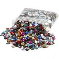 Rhinestones, round, D: 6+9+12 mm, assorted colours, 3600 pc/ 1 pack