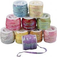 Sequined Ribbon, W: 6 mm, mother of pearl colours, 10x10 m/ 1 pack