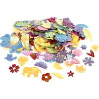 Sequins, size 15-45 mm, mother of pearl colours, 400 g/ 1 pack