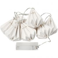 LED Light String with Lampshades, H: 80 mm, L: 100 cm, D: 65 mm, white, 1 pc