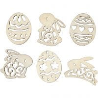 Wooden decorations, easter eggs and bunnies, H: 40 mm, thickness 3 mm, 24 pc/ 1 pack