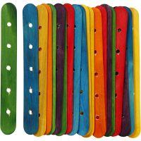 Sticks with holes, L: 15 cm, W: 1,8 cm, hole size 4 mm, assorted colours, 20 asstd./ 1 pack