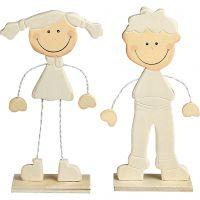 Boy and Girl, H: 18 cm, 1 pair