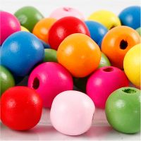 Wooden Beads Mix, D: 12 mm, hole size 2,5-3 mm, assorted colours, 22 g/ 1 pack