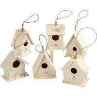 Bird House, H: 7 cm, 6 pc/ 1 pack