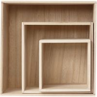 Storage Boxes, square, H: 15x15+21,5x21,5+28x28 cm, depth 12,5 cm, 3 pc/ 1 set