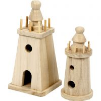 Lighthouse, H: 13,5+18 cm, 2 pc/ 1 pack