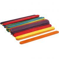 Wood Sticks, L: 11,4 cm, W: 10 mm, assorted colours, 30 pc/ 1 pack