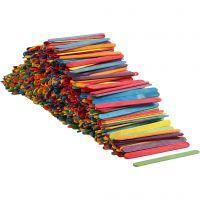 Wood Sticks, L: 11,4 cm, W: 10 mm, assorted colours, 1000 pc/ 1 pack
