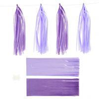 Paper Tassel, size 12x35 cm, 14 g, dark lilac/light lilac, 12 pc/ 1 pack