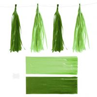 Paper Tassel, size 12x35 cm, 14 g, dark green/lime green, 12 pc/ 1 pack