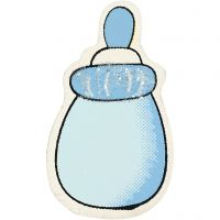 Milk Bottle, size 22x37 mm, thickness 1,7 mm, light blue, 10 pc/ 1 pack