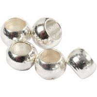 Crimp Beads, D: 2 mm, silver-plated, 1000 pc/ 1 pack